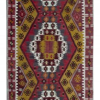 Antique Turkish Kilim Rug, Traditional Handmade Wool Rug 140x390cm