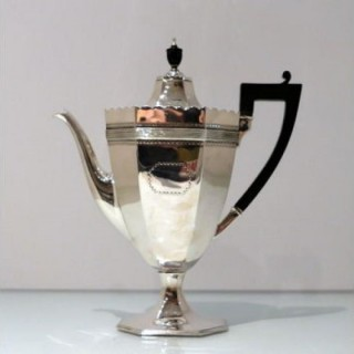 19th Century Antique Victorian Sterling Silver Coffee Pot London 1885 Edward Hutton