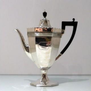 19th Century Antique Victorian Sterling Silver Coffee Pot London 1885 Edward Hutton