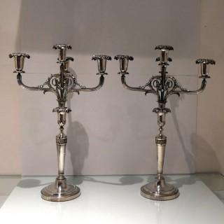 Early 19th Century Antique Silver Italian Pair Four Light Candelabra Turin Circa 1800
