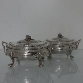 Sterling Silver Pair Of George III Sauce Tureens London 1767 Walter Tweedie