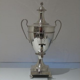 18th Century Antique George III Sterling Silver Large Tea Urn London 1775 James Young