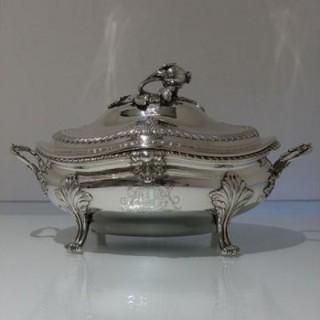 18th Century Antique George III Sterling Silver Soup Tureen London 1772 Walter Tweedie