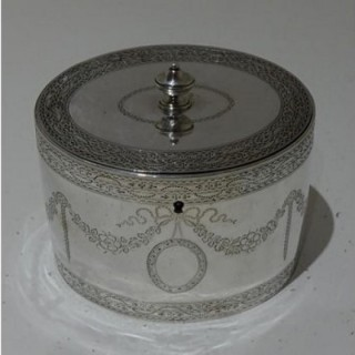 18th Century Antique George III Sterling Silver Tea Caddy London 1785 William Vincent