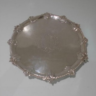 Early 18th Century Antique George III Sterling Silver Salver London 1766 Thomas Hannan & John Crouch