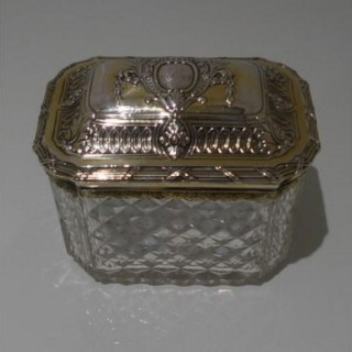 18th Century Antique George III Silver Gilt And Crystal Tea Caddy Circa 1770 (Lion Passant Mark Only)