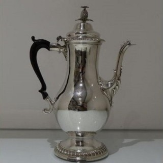 18th Century Antique George III Sterling Silver Coffee Pot London 1775 James Stamp