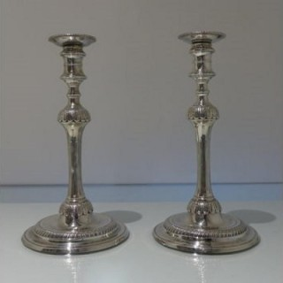 Mid 18th Century Antique Sterling Silver George II Pair Candlesticks London 1759 Jonathan Alleine