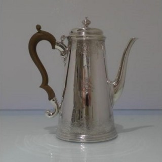 Early 18th Century Antique George III Sterling Silver Coffee Pot London 1732 Benjamin Godfrey