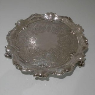 Early 20th Century Antique Edwardian Sterling Silver Salver London 1904 John & Edward Barnard