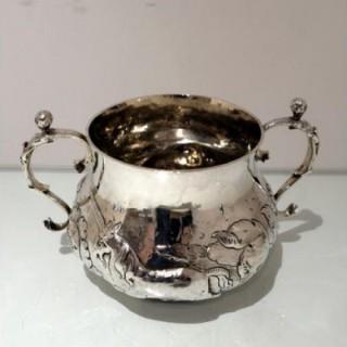 Mid 17th Century Antique Charles II Large Silver Porringer London 1662 John Burges