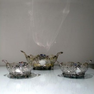 Early 20th Century Edwardian Sterling Silver Suite Three Dishes London 1908/09 David & George Edwards