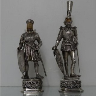 Early 20th Century Antique Edwardian Pair Silver Knights Chester 1905\08 Import Marked Berthold Muller