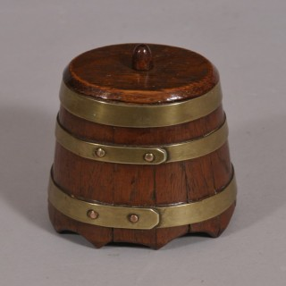 Antique Treen 19th Century Oak Lidded Barrel