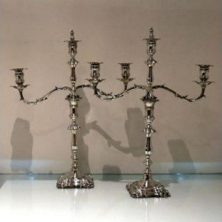 Late 19th Century Antique Victorian Pair Silver Plate Three Light Candelabra Circa 1895 Elkington & Co