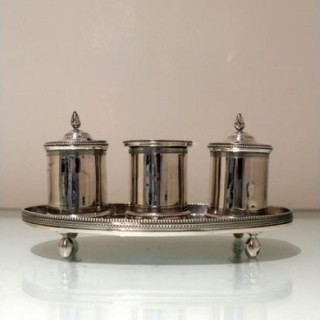 Early 19th Century Antique Spanish Provincial Silver Inkstand Cordoba 1800 Mateo Mtz Moreno