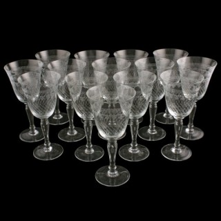 Set of 14 Edwardian Wine Glasses