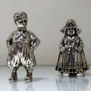 19th Century Antique 800 Standard Silver Pair Figural Novelty Peppers German Circa 1890