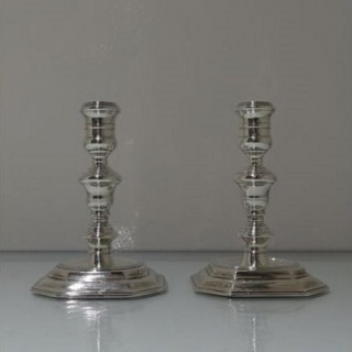 17th Century Antique William & Mary Sterling Silver Pair Candlesticks London 1694 George Bowers?