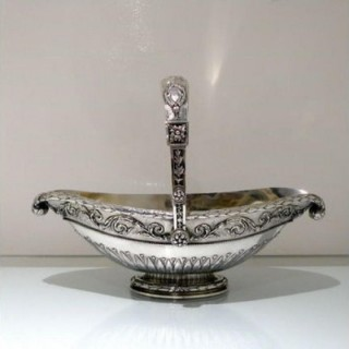 Mid 19th Century Antique Large Silver French Basket Paris Circa 1845 Jacques Goujon