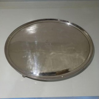 18th Century George III Large Old Sheffield Silver Plate Oval Salver Circa 1785
