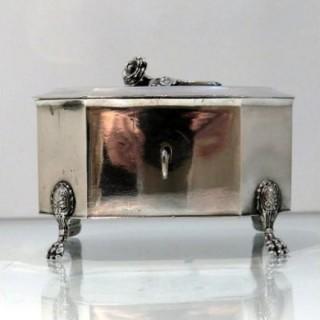 Early 19th Century Antique Continental Silver Sugar Box Circa 1820