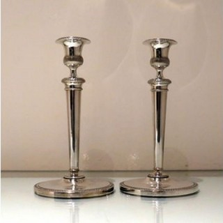 Early 19th Century Antique Italian Pair Silver Candlesticks Milan Circa 1820 Eugenio Brusa