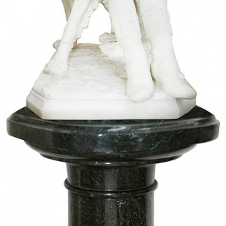 Enrico Astorri, 19th Century Marble Statue of Young Boy with Dog