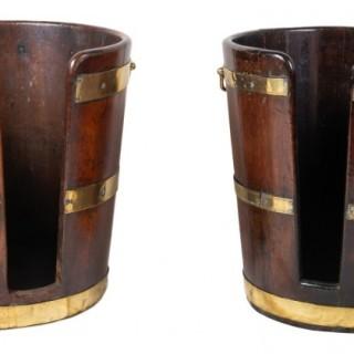 Pair 18th Century Georgian Mahogany plate buckets