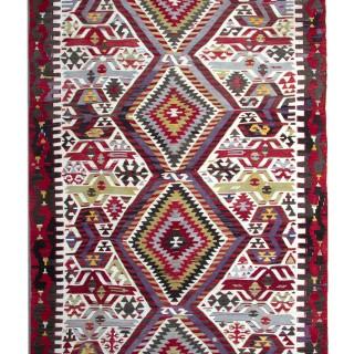 Handwoven Anatolian Kilim Rug, Traditional Handmade Flatwoven Rug- 156x312cm