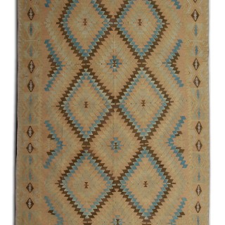 Antique Anatolian Kilim Rug, Handmade Flat-woven Carpet 193x390cm