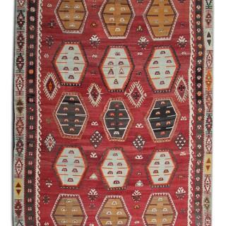 Antique Red Handmade Oriental Kilim, Traditional Flat-woven Kilim Rug