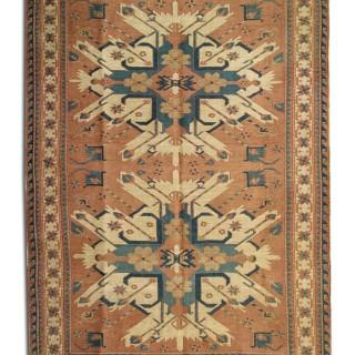 Handmade Turkish Kilim Rug, Unique Cream Flat-woven Carpet-140x193cm