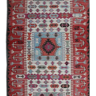 Antique Tribal Kilim Rug- Handmade Flat-woven Wool Carpet- 173x400cm
