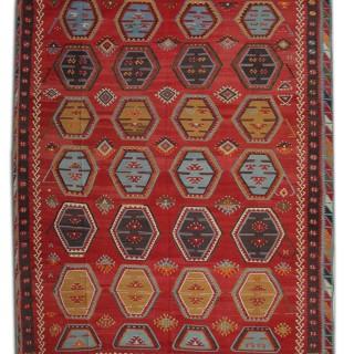 Handmade Kilim Area Rug, Traditional Flat-woven Carpet Rug- 282x368cm