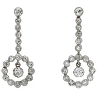 Diamond drop earrings, circa 1950