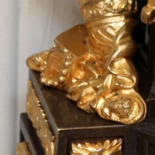 French Louis XVI Style Parcel-Gilt Bronze Mantel Clock