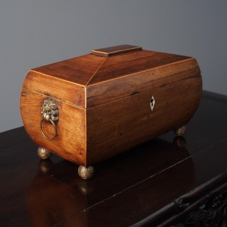 George III Inlaid Rosewood Sarcophagus Shape Tea Caddy