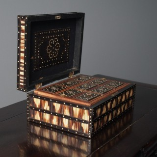 Anglo-Indian Ebony and Porcupine Quill Jewellery Box
