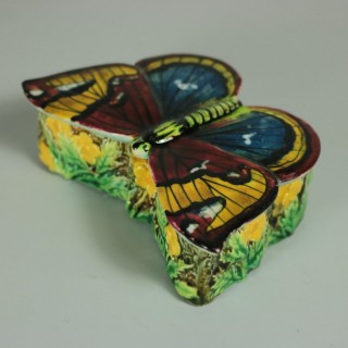 George Jones Majolica Butterfly Match Box