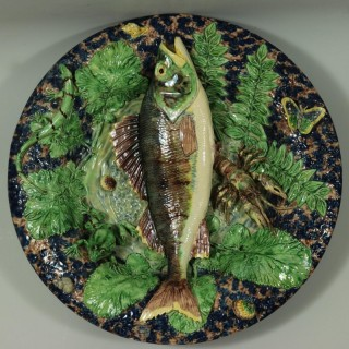 School of Paris Majolica Palissy Fish, Reptile & Butterfly Plate