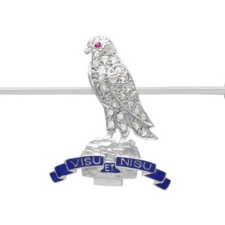 0.15ct Diamond and Ruby, 9ct White Gold Regimental Brooch - Antique Circa 1930