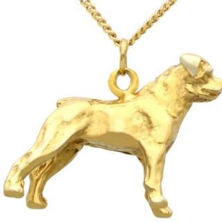 8ct Yellow Gold Dog Charm/Pendant - Vintage Circa 1960