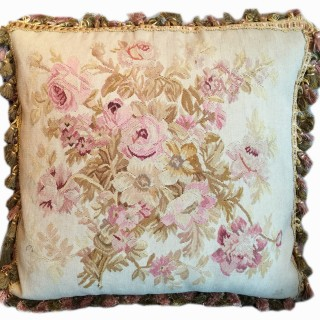 Aubusson Cushion Cover Handmade Silk And Wool  Pillow