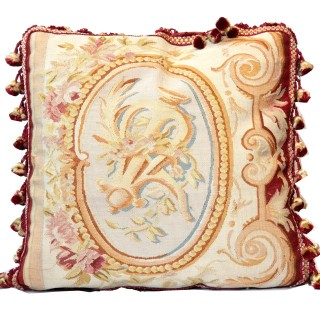 Silk and Wool Cushion Cover, French Aubusson Style Cushion