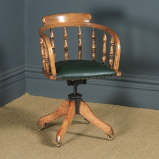 Antique English Edwardian Solid Ash Green Leather Revolving Office Desk Arm Chair (Circa 1910)