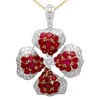 8.89ct Burmese Ruby and 4.05ct Diamond, Platinum and 18ct Yellow Gold Drop Necklace - Vintage French Circa 1980