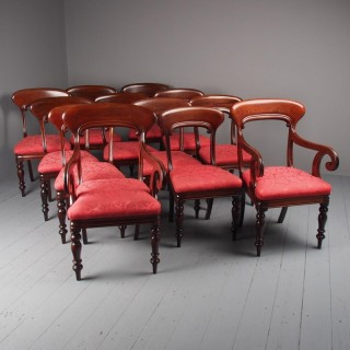 Set of 12 Scottish Mahogany Dining Chairs