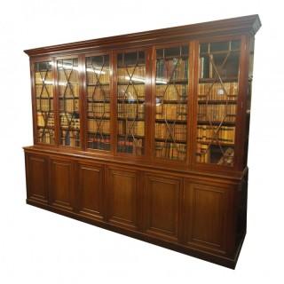 Large George III Style Mahogany 6 Door Cabinet Bookcase