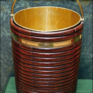 Irish George III ribbed mahogany plate bucket